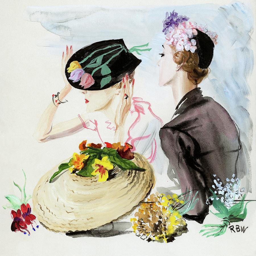Women Wearing Suzy Hats Digital Art by Rene Bouet-Willaumez