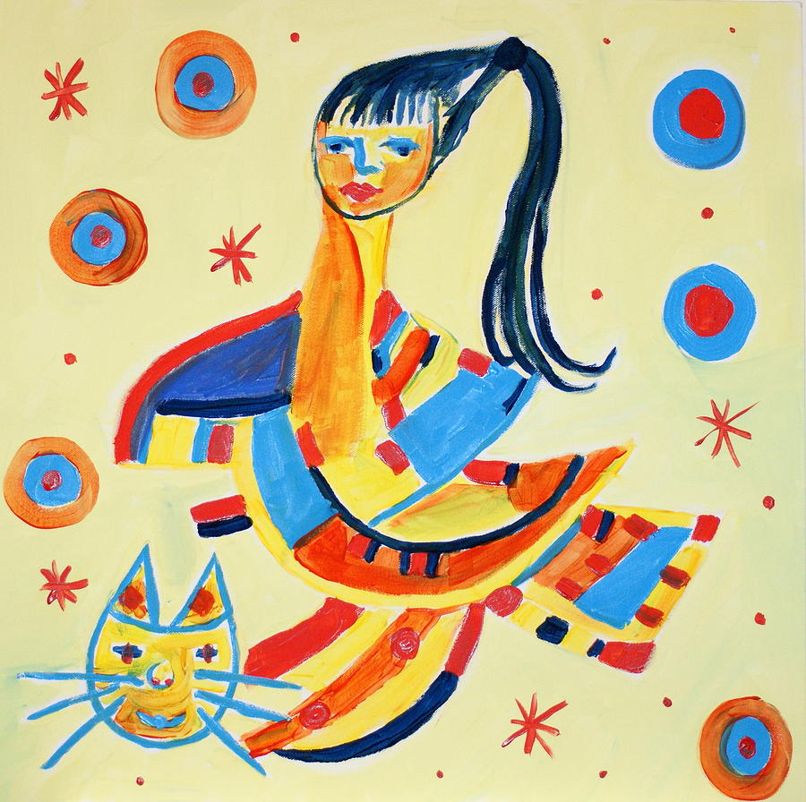 Women Painting - Women With Cat by Sandra Conceicao