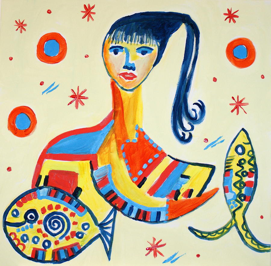 Women Painting - Women With Fish by Sandra Conceicao