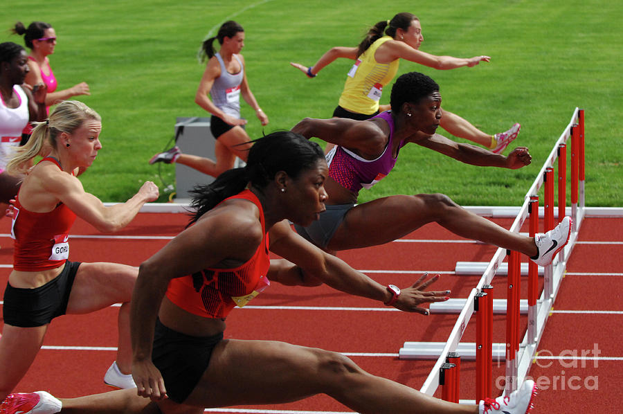 Track Photograph - Womens Hurdles 3 by Bob Christopher