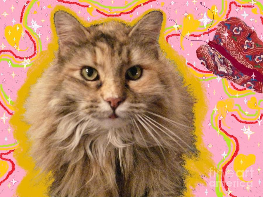 Cats Painting - Wonder Kitty by Jacquelyn Roberts