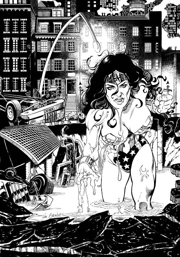 Wonder Woman Drawing - Wonder Woman Battle by Ken Branch