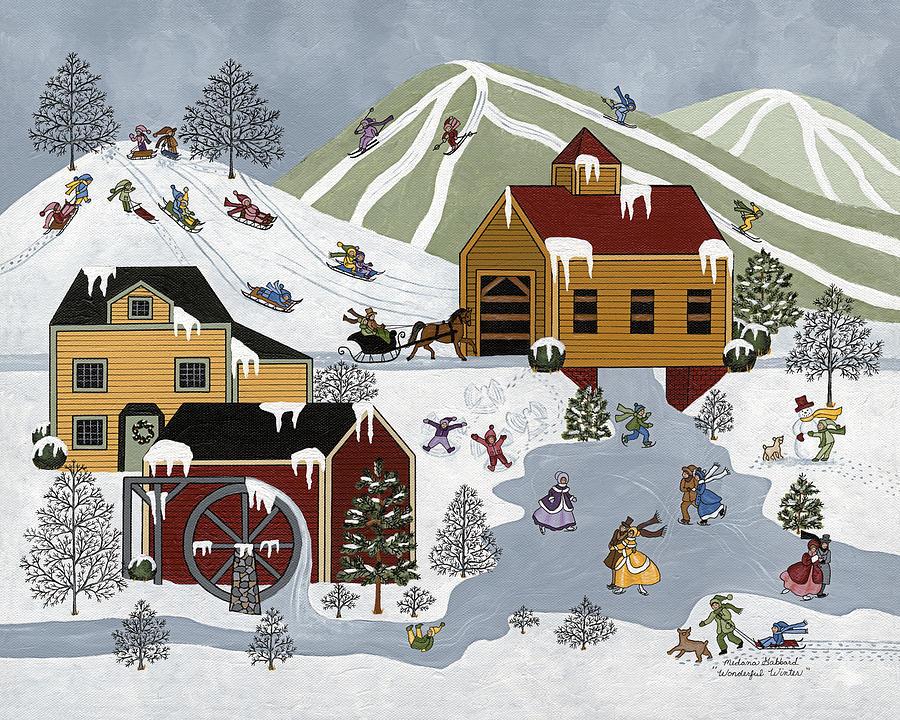 Winter Painting - Wonderful Winter by Medana Gabbard