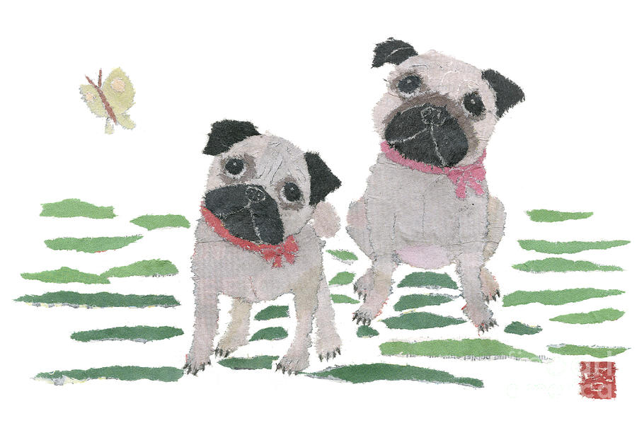 Pugs Painting - Pug Art Hand-torn Newspaper Collage Art By Keiko Suzuki Bless Hue by Keiko Suzuki