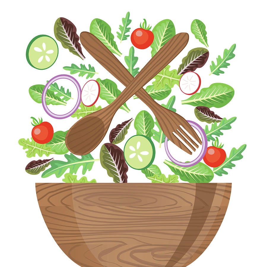 Wood Bowl Of Salad With Flying Digital Art by Diane Labombarbe