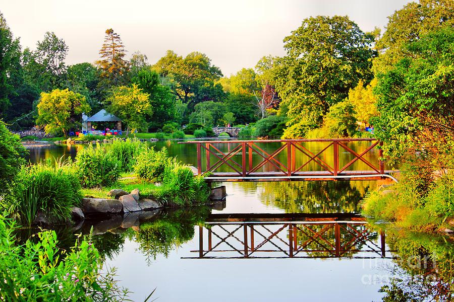 Wood Bridge Photograph - Wood Bridge Reflection by Judy Palkimas