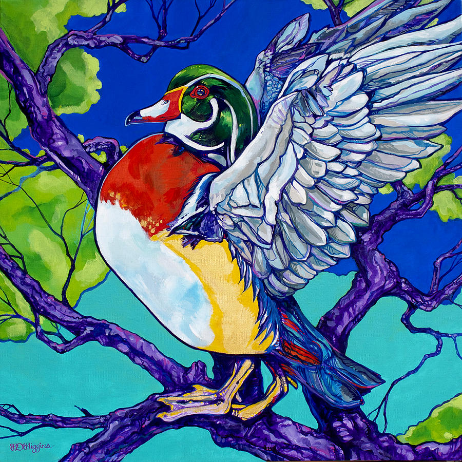 Contemporary Painting - Wood Duck by Derrick Higgins
