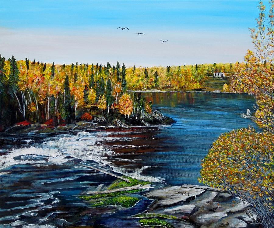 Rocks Painting - Wood Falls  by Marilyn  McNish