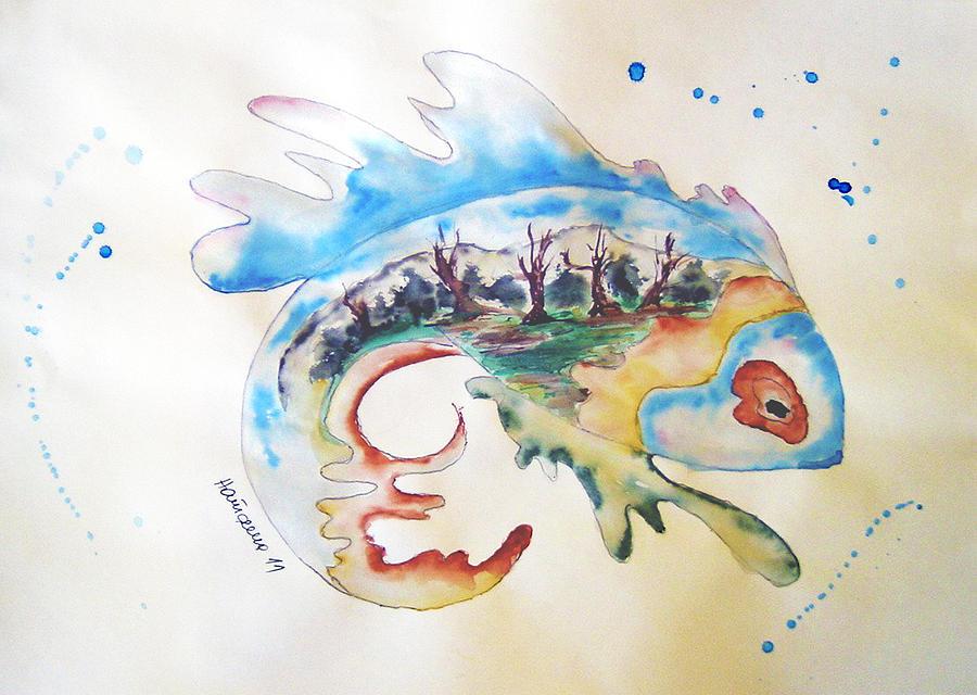 Watercolor Painting - Wood-fish by Natasa Dobrosavljev