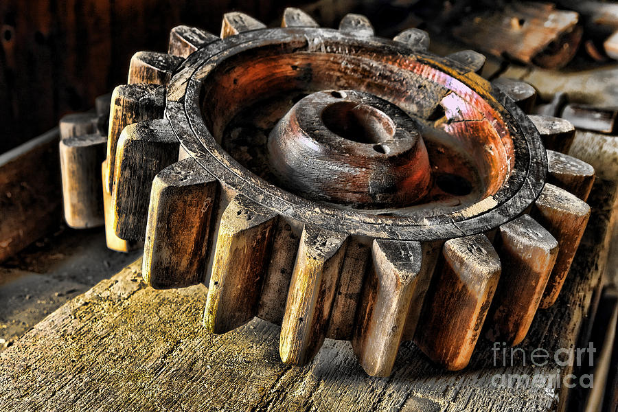 Cog Photograph - Wood Gears by Olivier Le Queinec