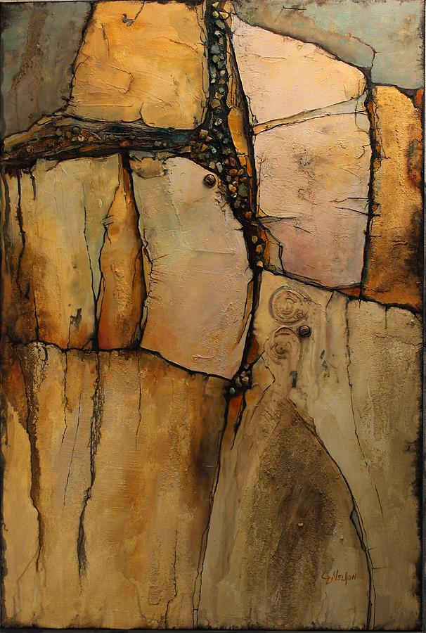 Wood Rock Painting By Carol Nelson