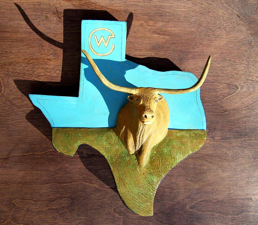 Longhorn Sculpture - Woodcrafted Home On The Range by Michael Pasko