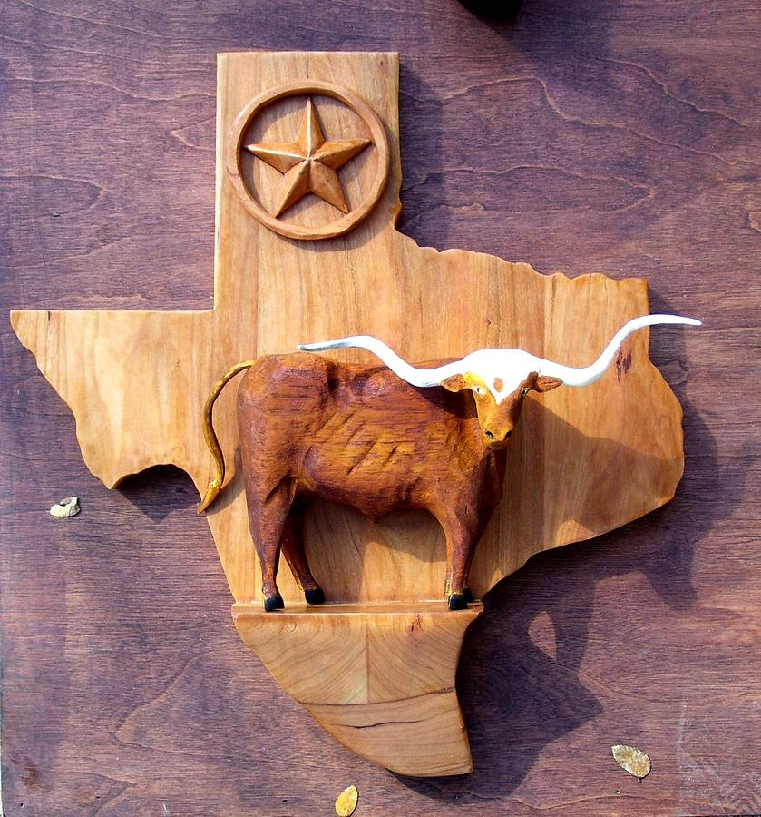 Animals Relief - WOODCRAFTED Texas Longhorn by Michael Pasko