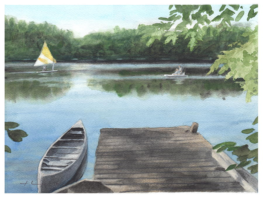 Wooded Lake Watercolor Portrait Painting by Mike Theuer