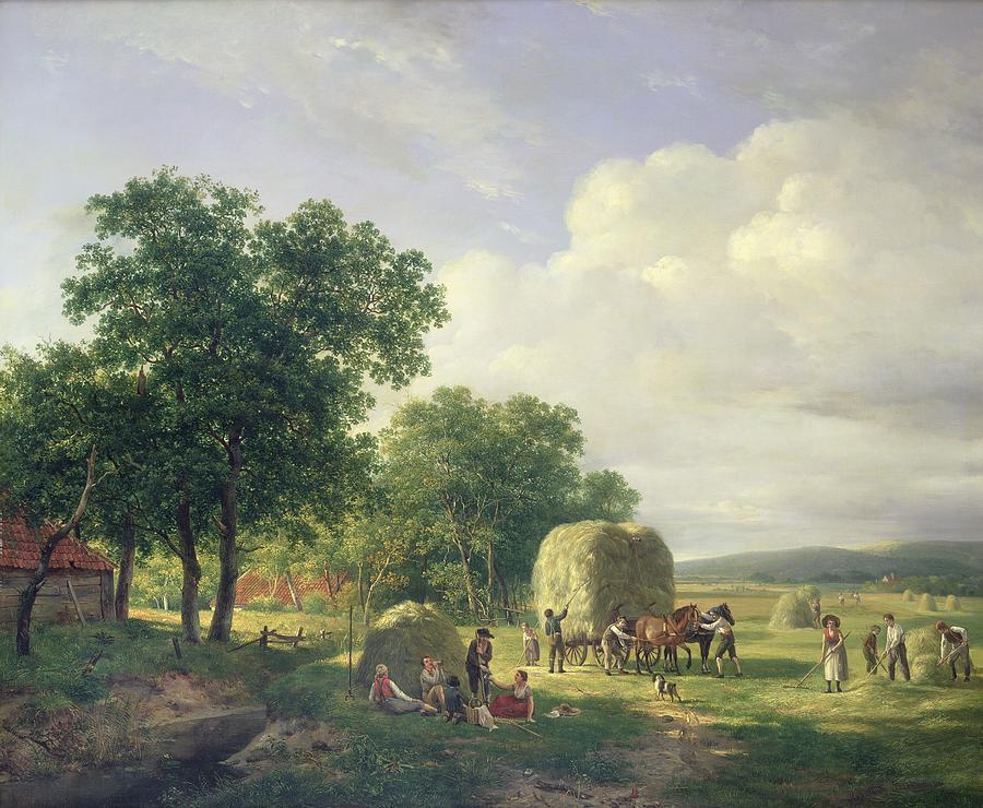 Landscape Painting - Wooded Landscape With Haymakers by Hendrick van de Sande Bakhuyzen