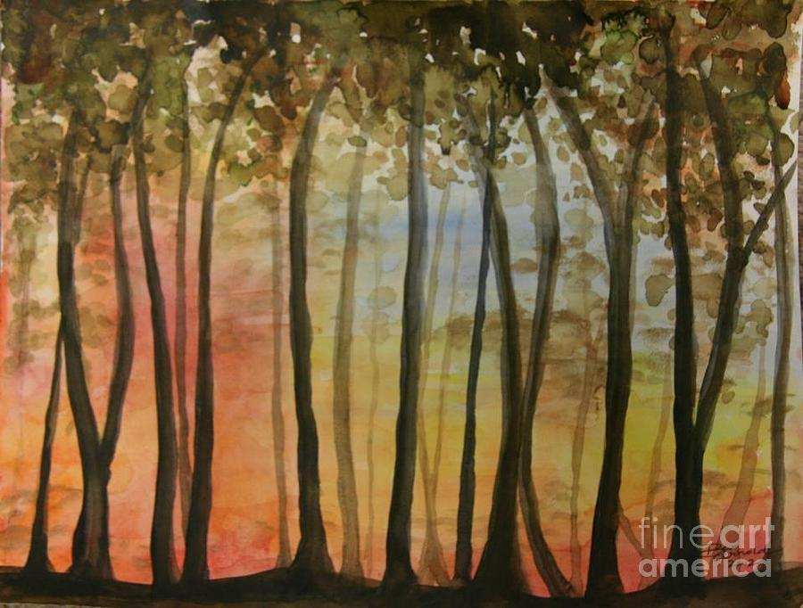 Landscape Painting - Wooded Sunset by Bev Arnold
