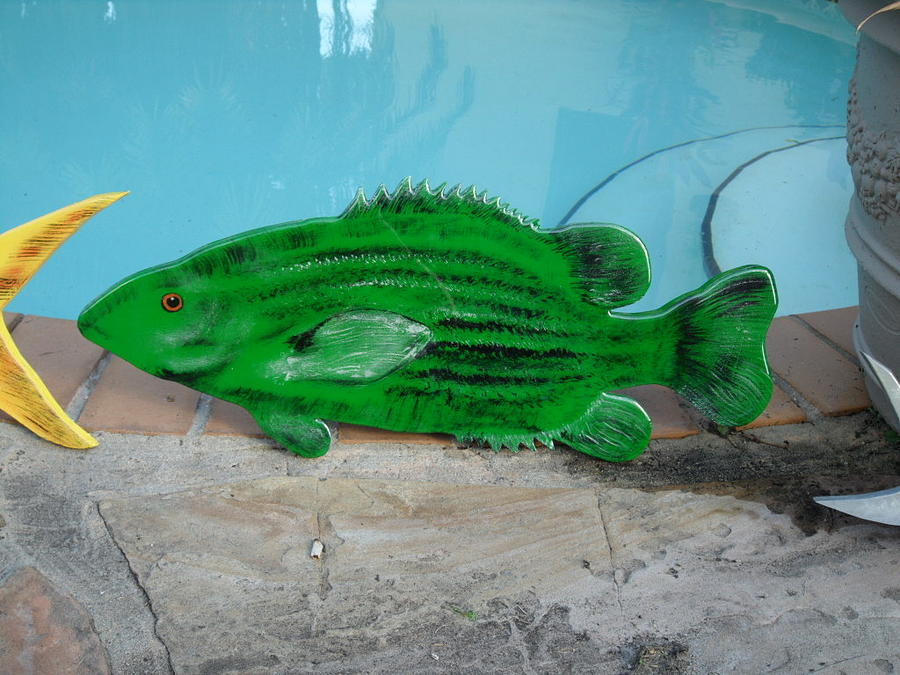 Fish Mixed Media - Wooden Bass Fish by Val Oconnor