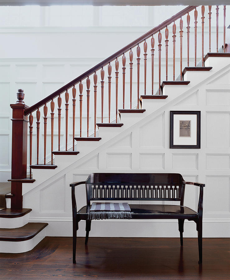 Wooden Bench And Staircase Inside House Photograph By Scott Frances