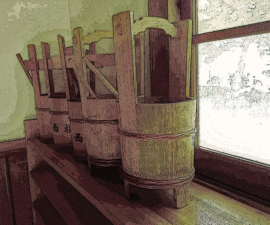 Wooden Buckets all in a row by Tim Ernst