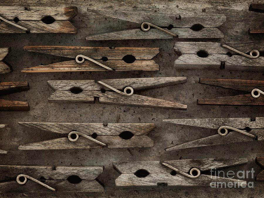 Spring Photograph - Wooden Clothespins by Priska Wettstein