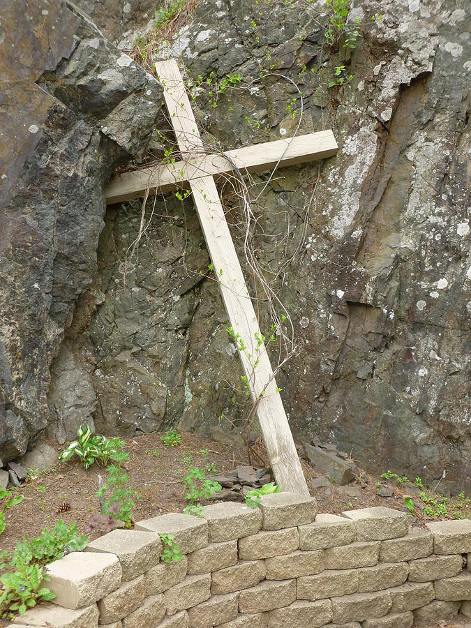 Rocks Photograph - Wooden Cross In The Rocks by Jennifer Cairns