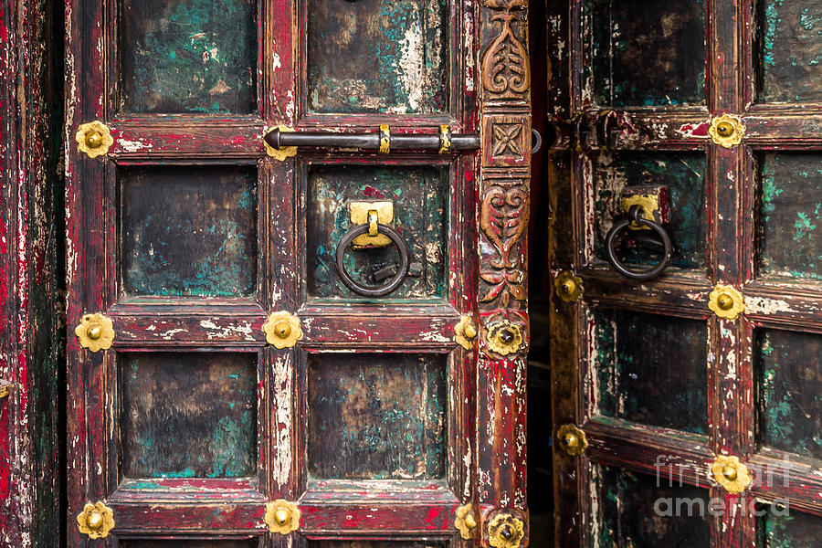 India Photograph - Wooden Door by Catherine Arnas