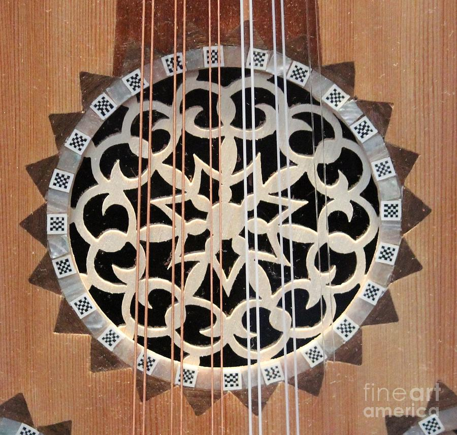 Guitar Photograph - Wooden Guitar Inlay With Strings by Cynthia Snyder