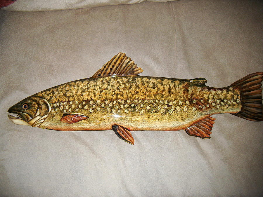 Living Waters Painting - Wooden Pa. Trout by Lisa Ruggiero
