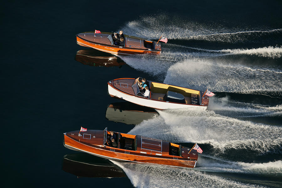 Aerial Photograph - Wooden Runabouts On Lake Tahoe by Steven Lapkin
