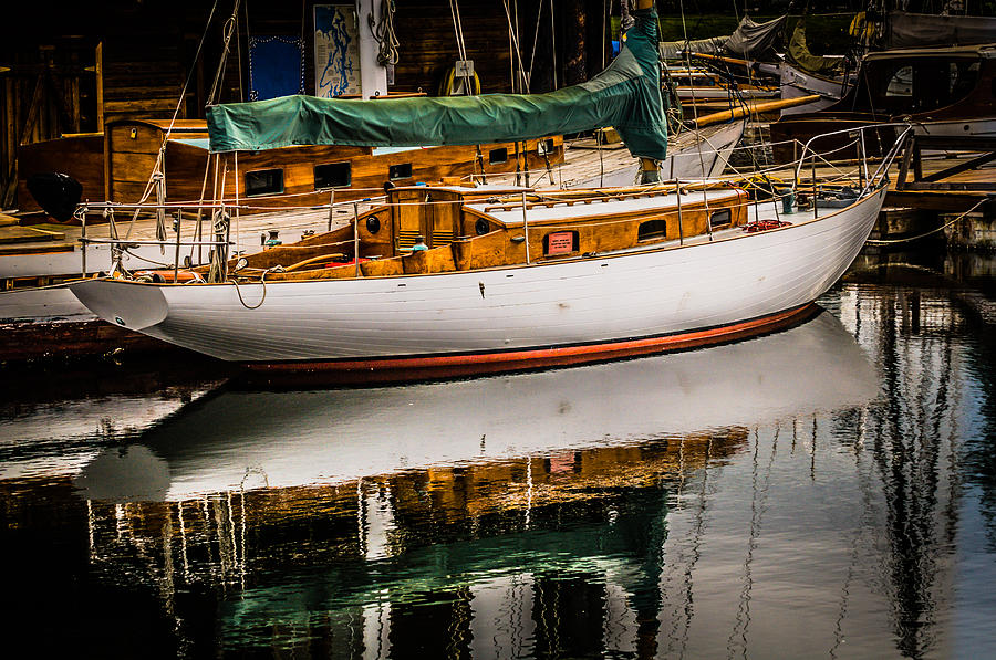 Sail Photograph - Wooden Sailboat by Puget  Exposure