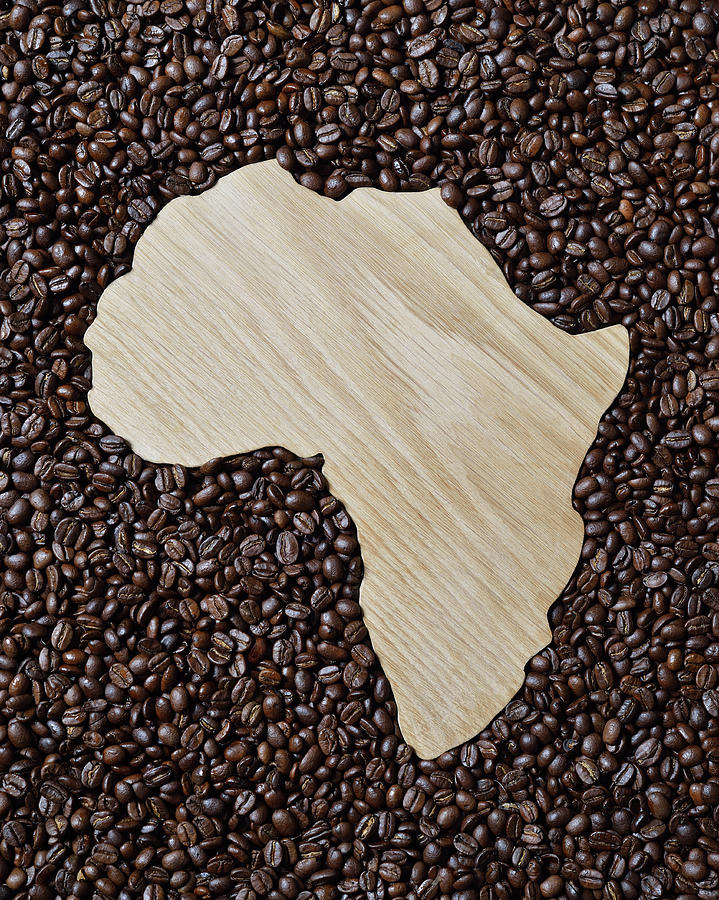 Wooden Shape Of Africa Surrounded By Photograph by David Malan