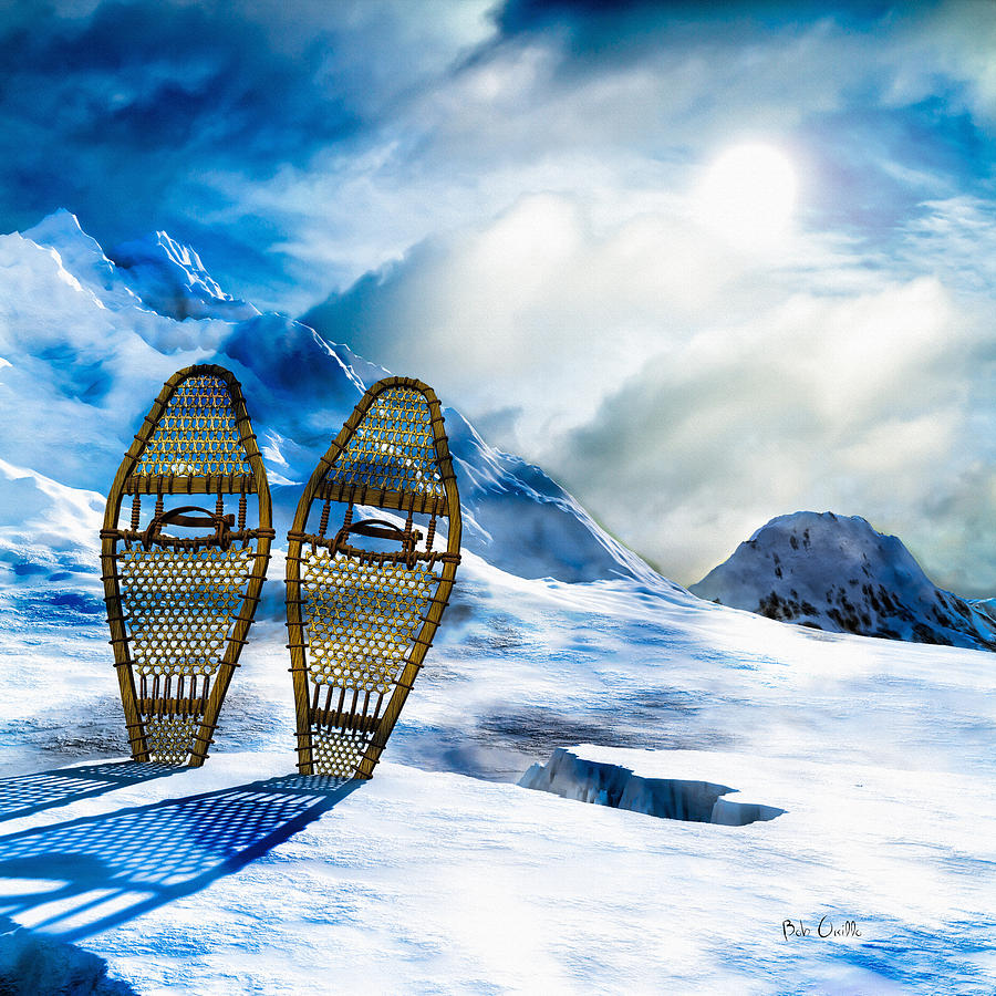 Winter Photograph - Wooden Snowshoes  by Bob Orsillo
