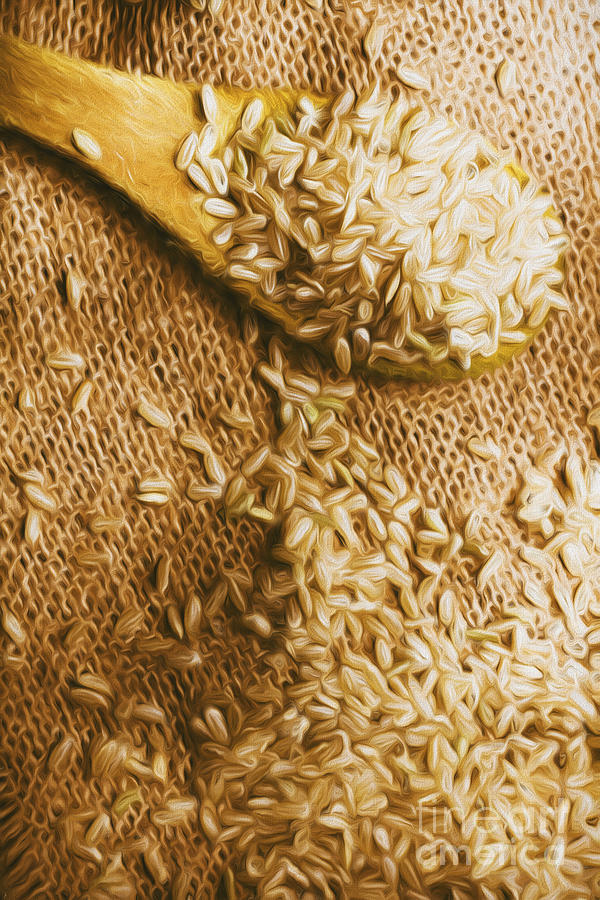 Rice Digital Art - Wooden Tablespoon Serving Of Uncooked Brown Rice by Jorgo Photography - Wall Art Gallery