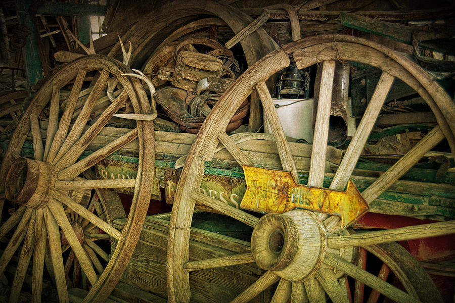 Digital Photograph   Wooden Wagon Wheels In A Storage Shed By Randall Nyhof