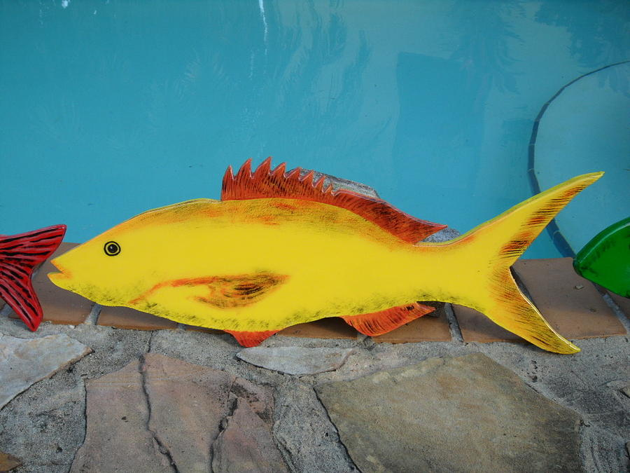 Fish Mixed Media - Wooden Yellow Tail by Val Oconnor