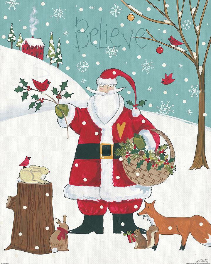 Animals Painting - Woodland Christmas Viii by Anne Tavoletti
