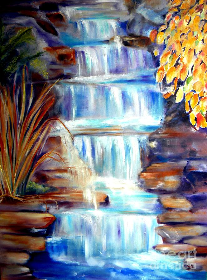 Waterfall Painting - Woodland Oasis by Sandy Ryan