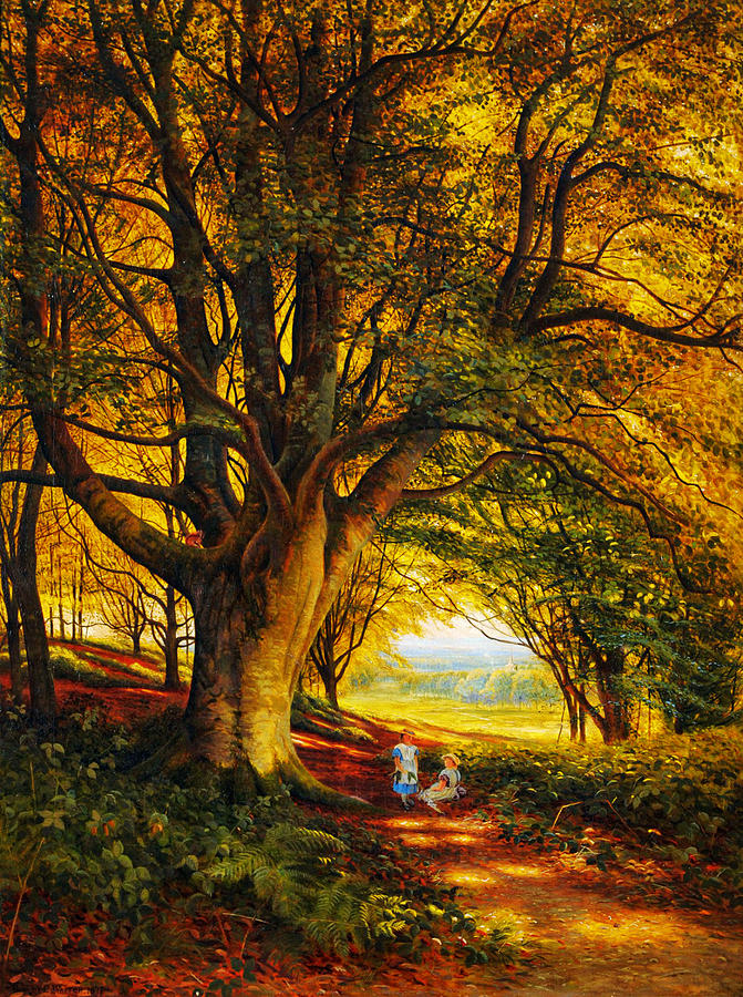 Woodland Scene In Summer With Children On A Path Painting