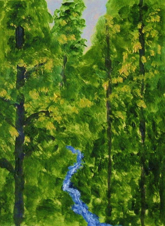 Woodland Stream Painting by Edna Fenske