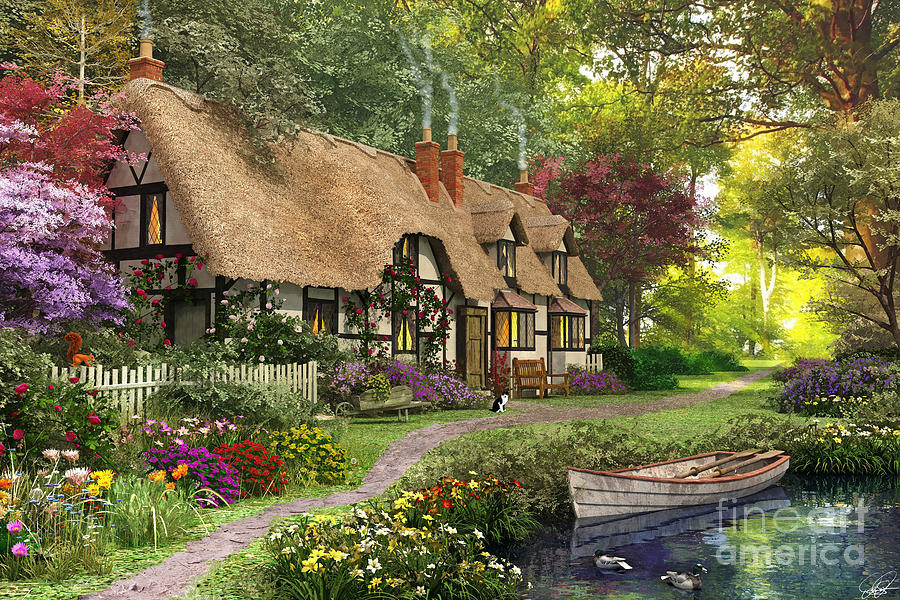 Cottage Digital Art - Woodland Walk Cottage by MGL Meiklejohn Graphics Licensing