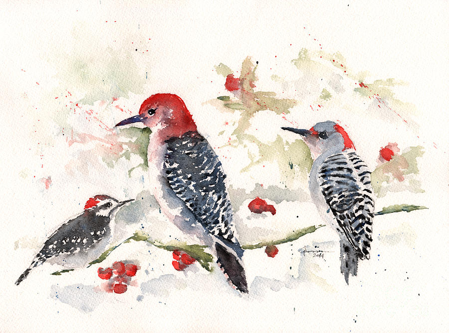 Woodpeckers in the Snow by Claudia Hafner