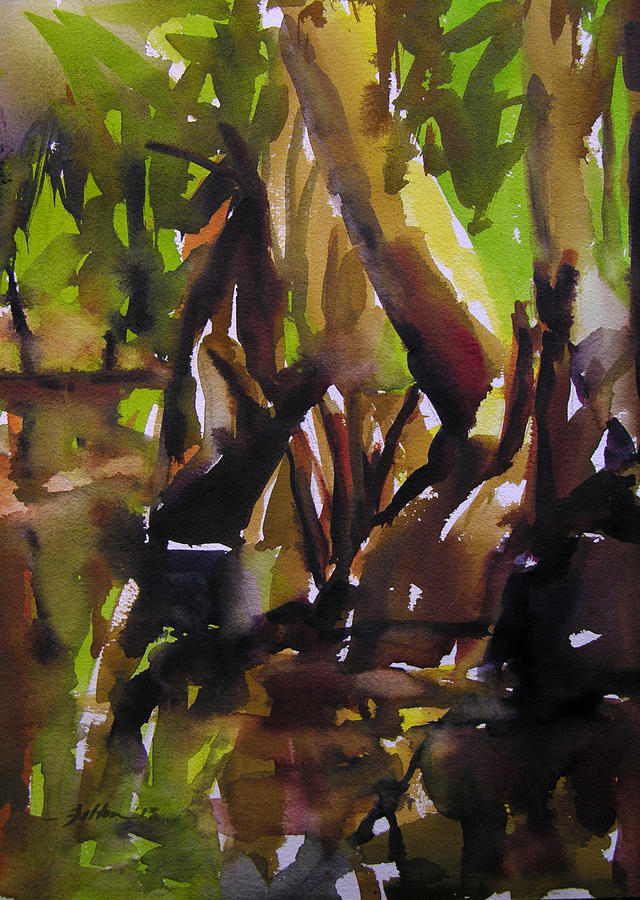 Water Painting - Woods And Creek 2 by Julianne Felton
