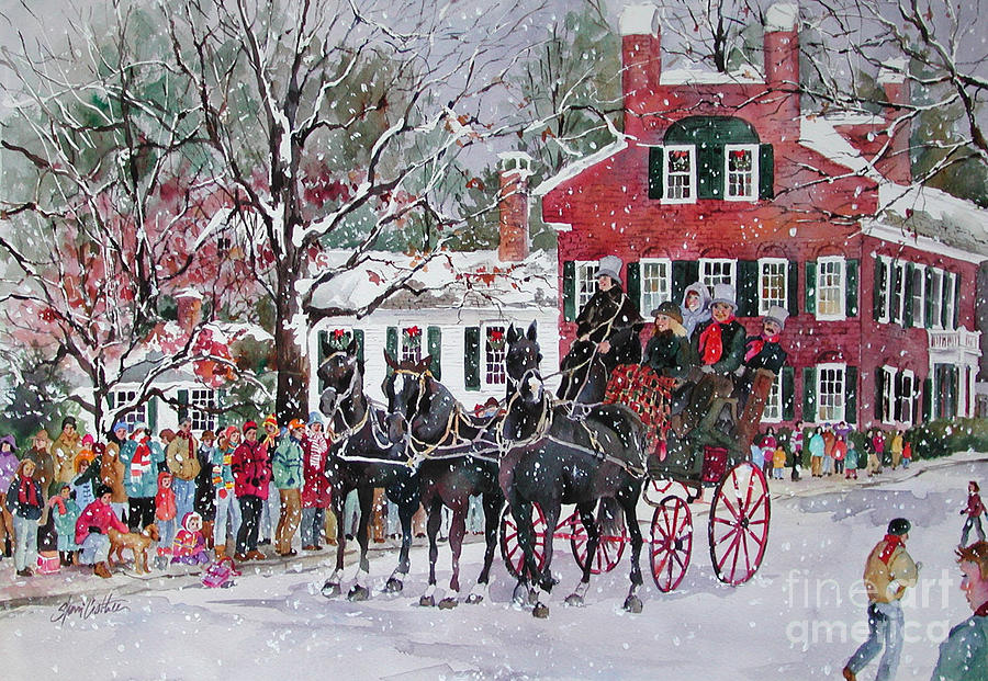 Christmas Painting - Woodstock Wassail Parade by Sherri Crabtree