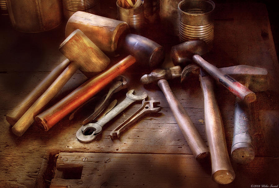 Savad Photograph - Woodworker - A Collection Of Hammers  by Mike Savad