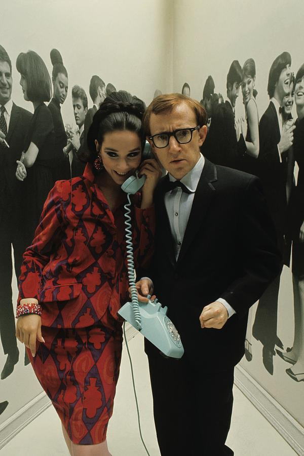 Woody Allen Posing With A Model Holding Photograph by David Mccabe