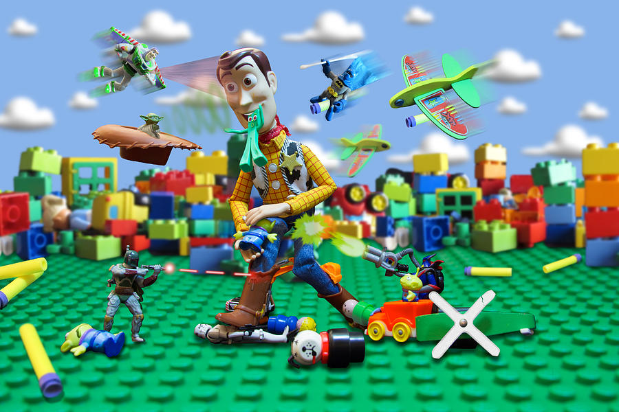 Toy Digital Art - Woody Vs The Little Guys by Randy Turnbow