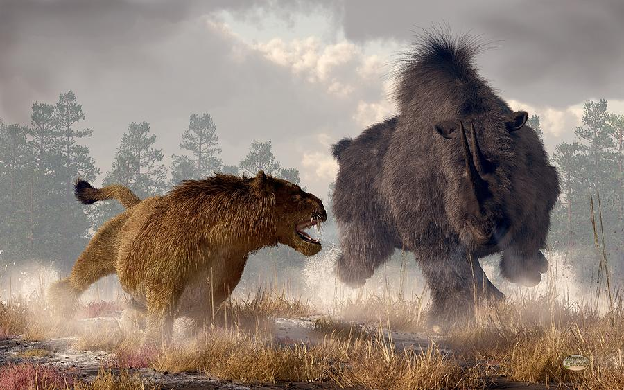 Woolly Rhino Digital Art - Woolly Rhino And Cave Lion by Daniel Eskridge