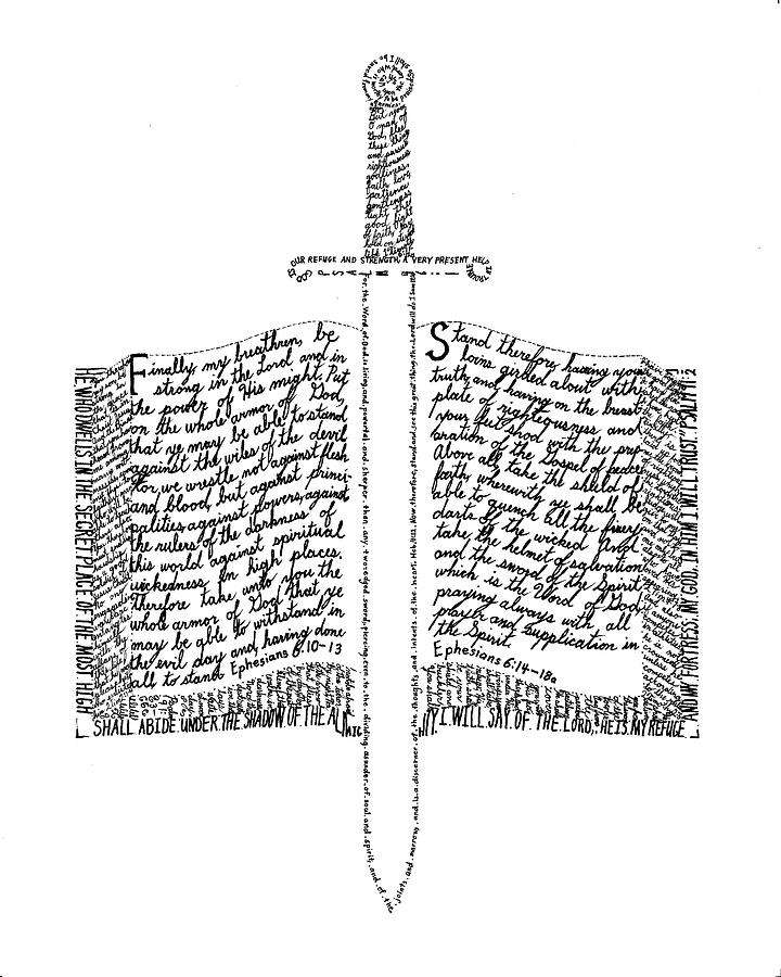Sword In The Bible Quote: Word Of God Drawing By Bethany Martin