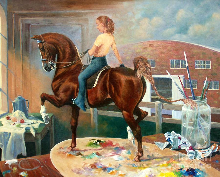 American Saddlebred Painting - Work In Progress II by Jeanne Newton Schoborg