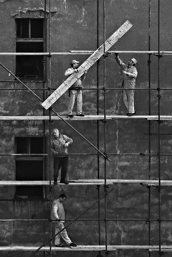 Construction Photograph - Workers 2 by Violeta Milutinovic